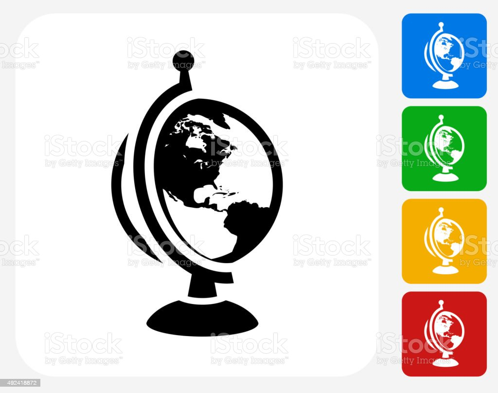 Globe Icon Flat Graphic Design vector art illustration