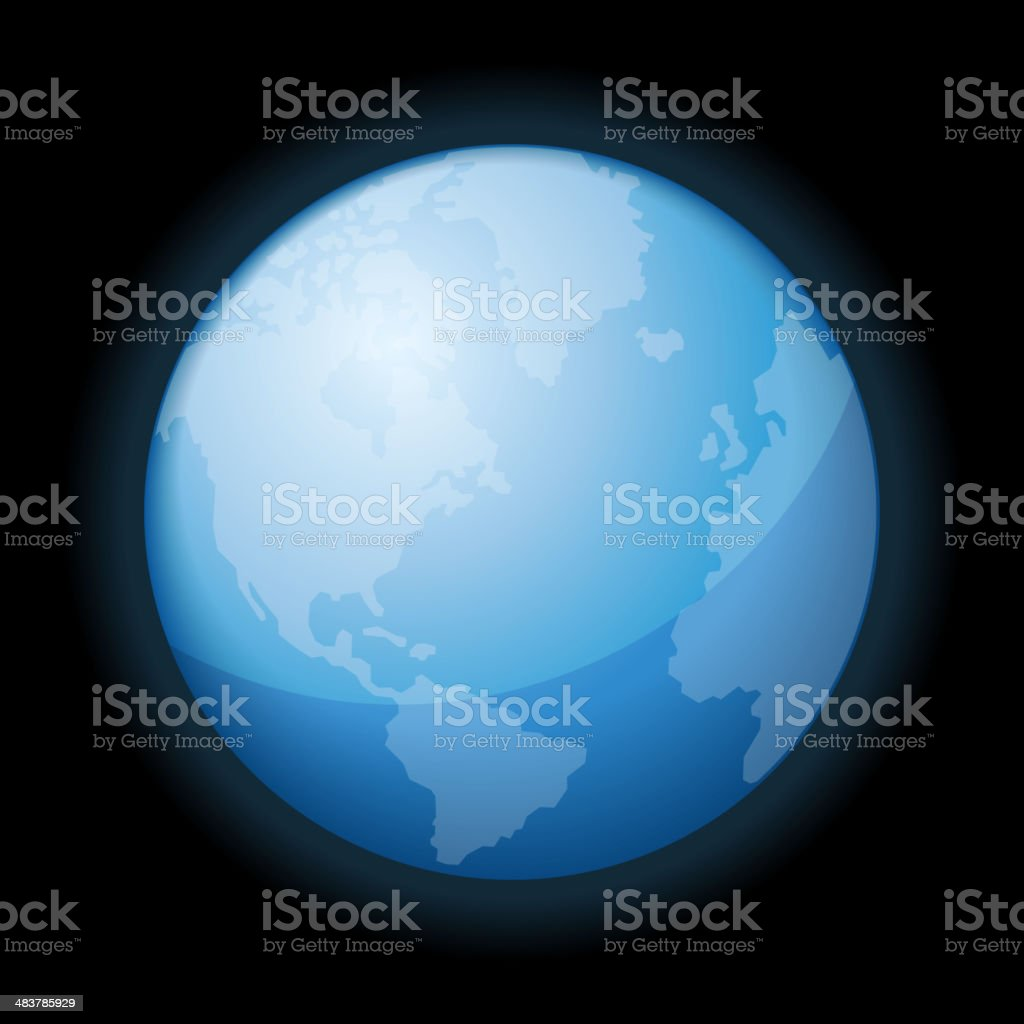 Globe Icon of the World on Black Background. Vector royalty-free stock vector art