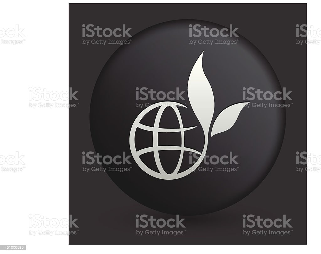 Globe Icon on Round Black Button Collection royalty-free stock vector art