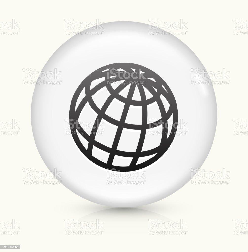Globe icon on white round vector button vector art illustration
