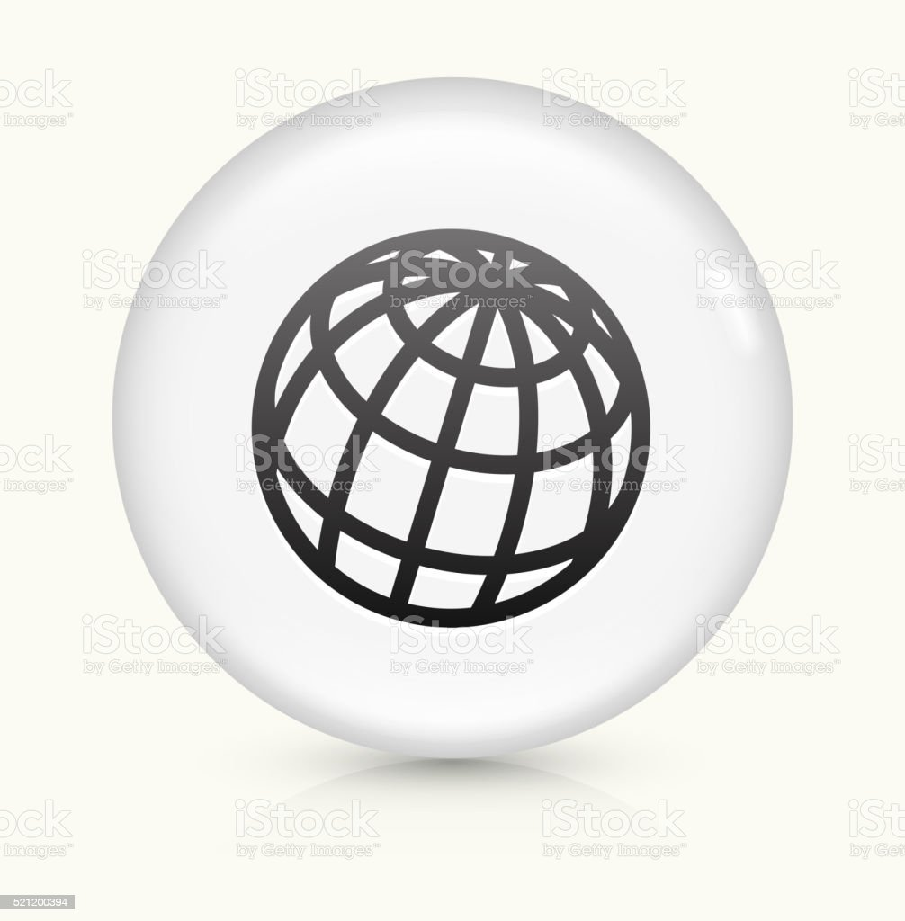 Globe icon on white round vector button vector art illustration