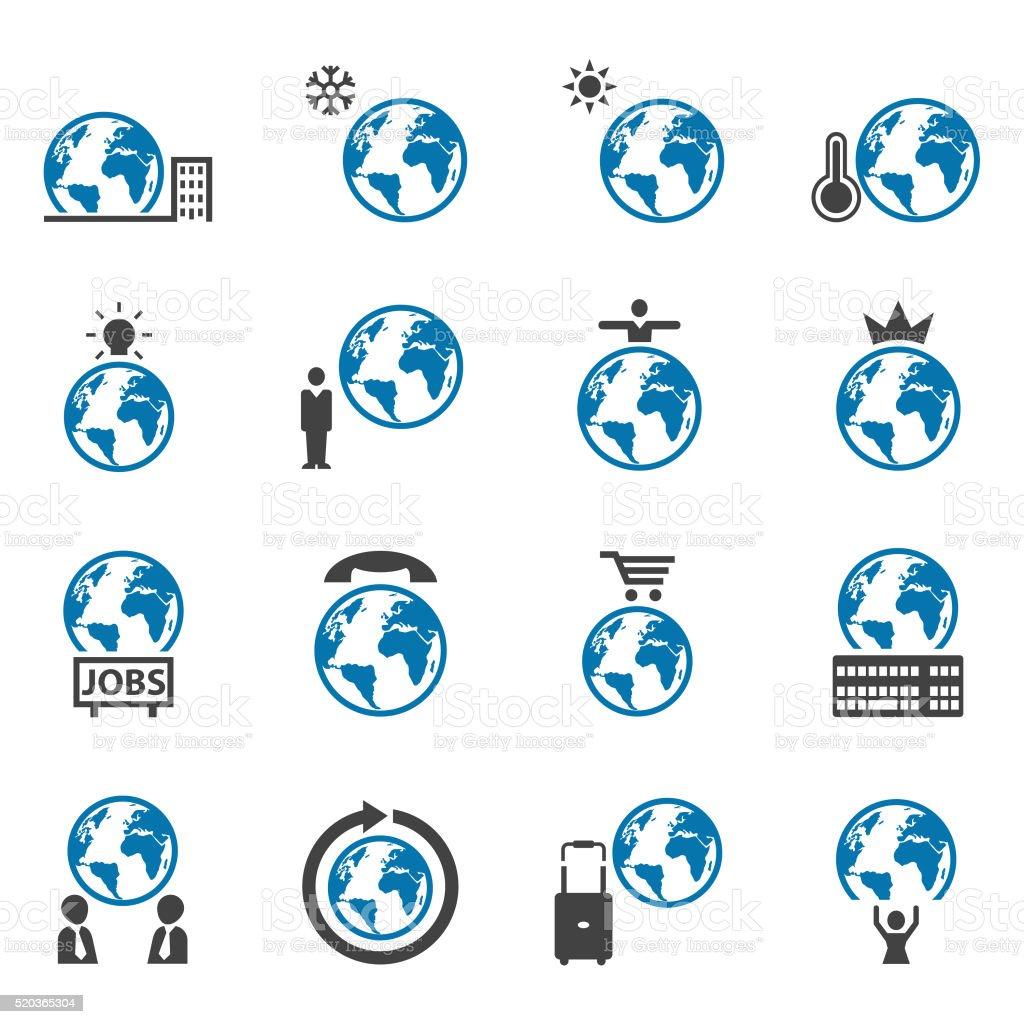 Globe icon set vector art illustration
