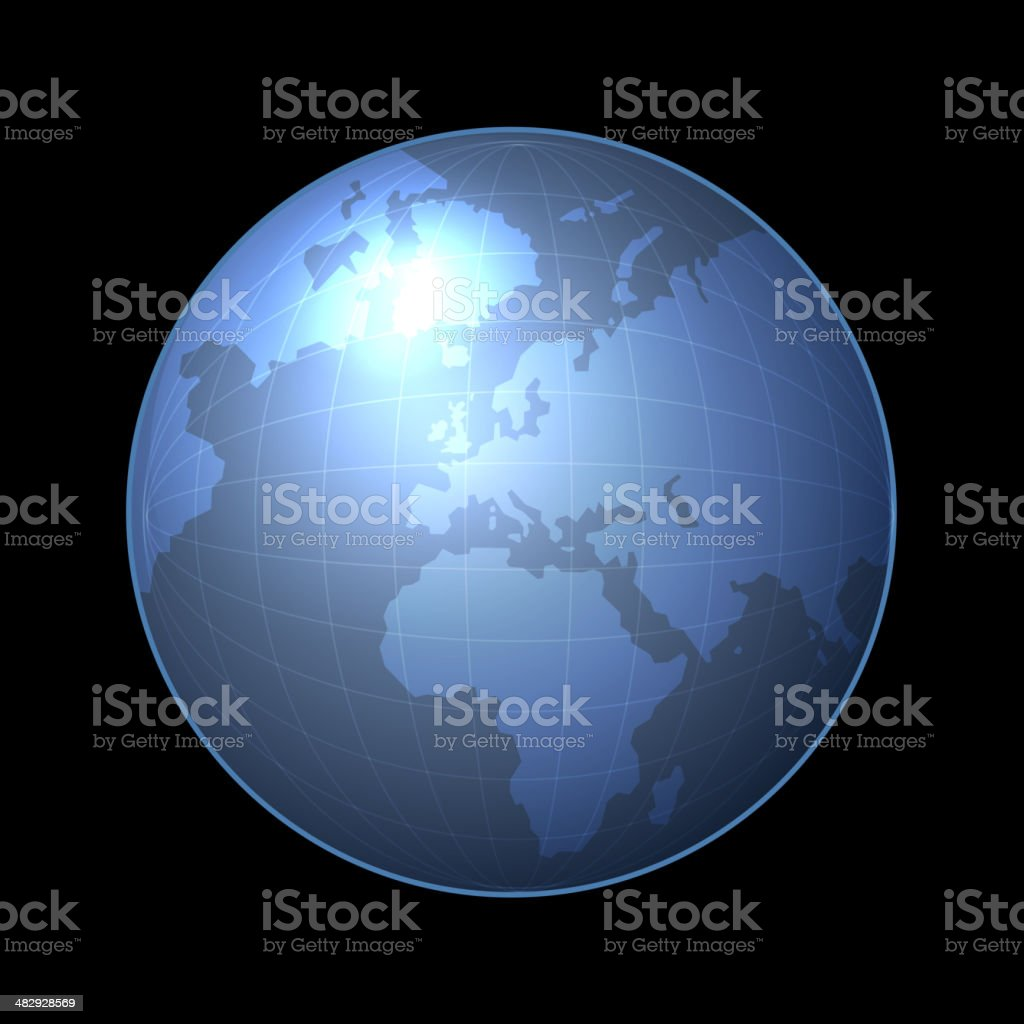 Globe Icon with Light Map of the Continents. Vector royalty-free stock vector art