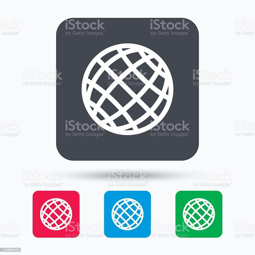 Globe icon. World or internet sign. vector art illustration