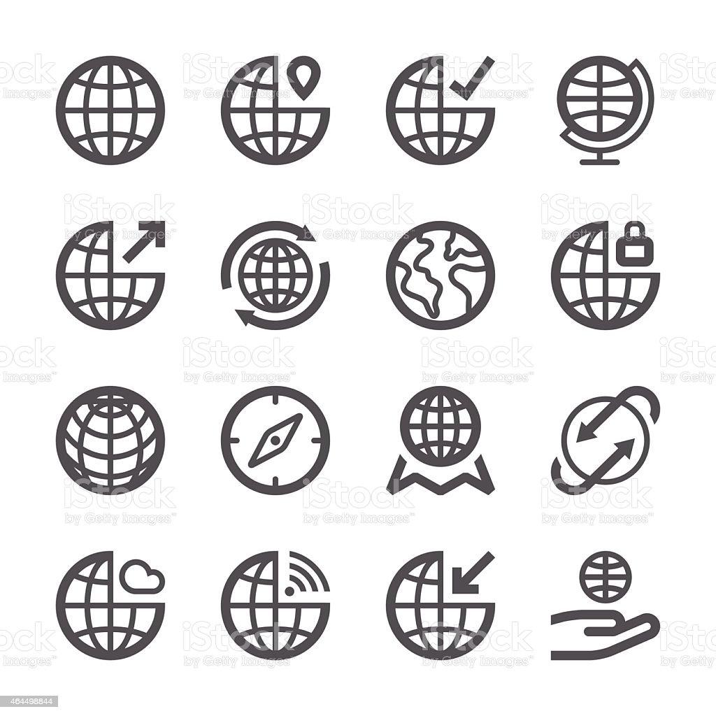 Globe Icons set 1 | Stroke Series vector art illustration