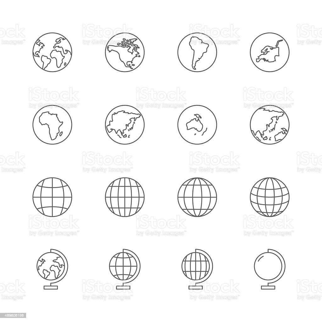 globe icons set vector art illustration