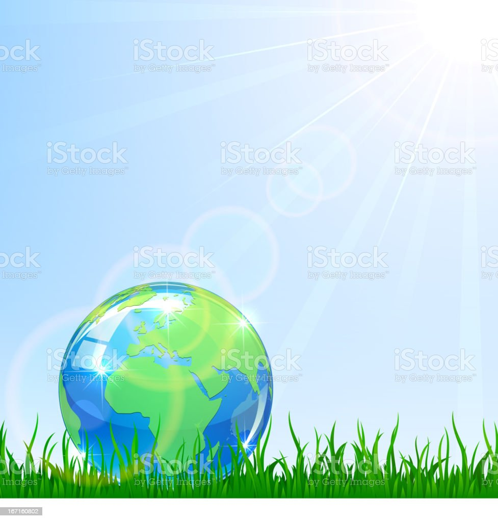 Globe in a grass royalty-free stock vector art