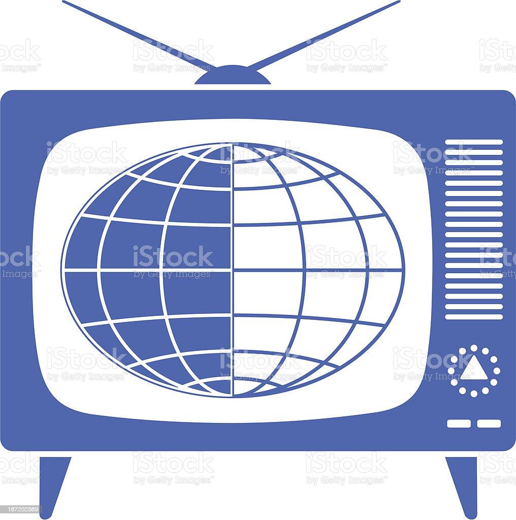 Globe in retro TV royalty-free stock vector art