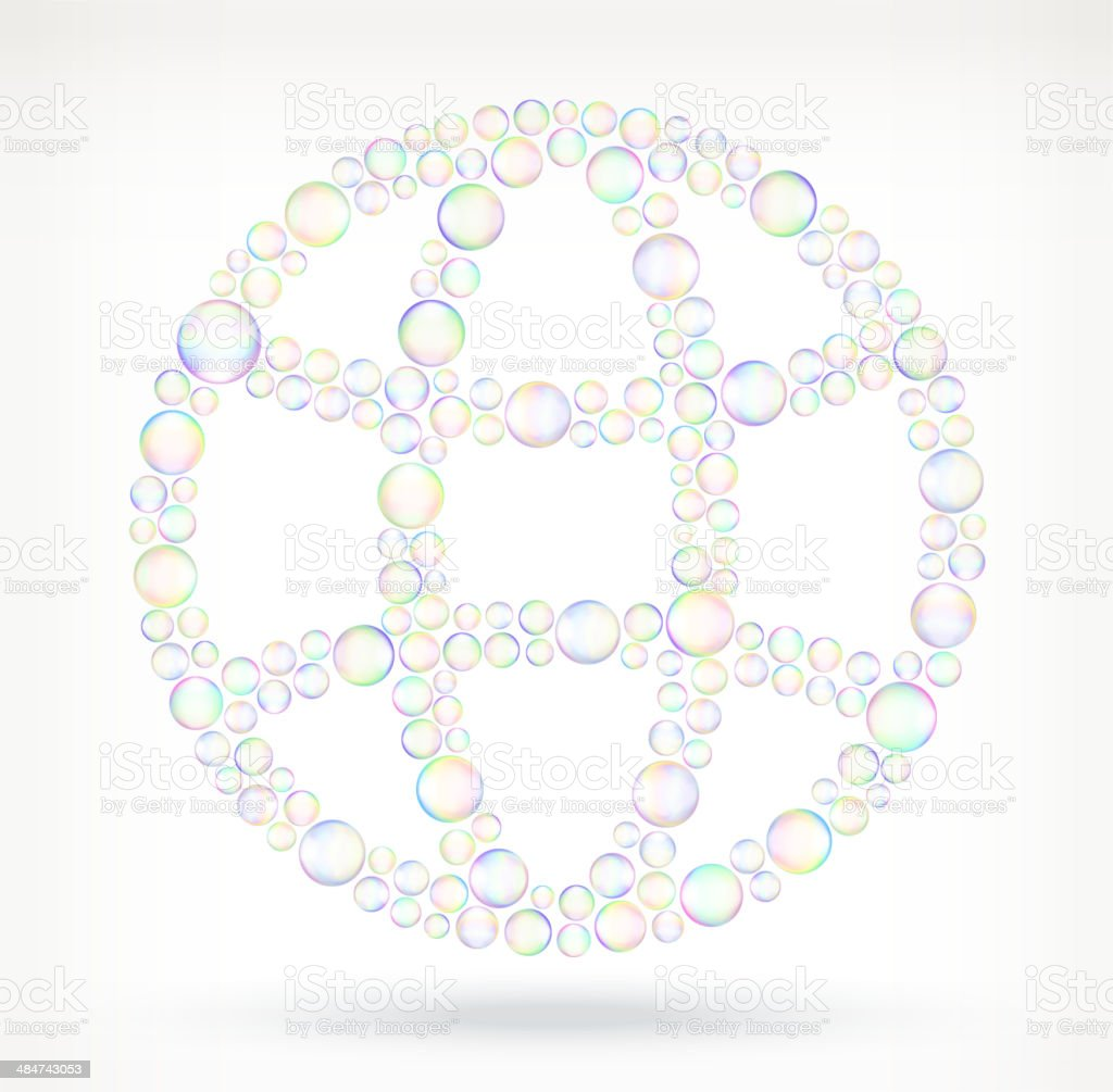 Globe in Soap Bubbles royalty free vector icon set vector art illustration