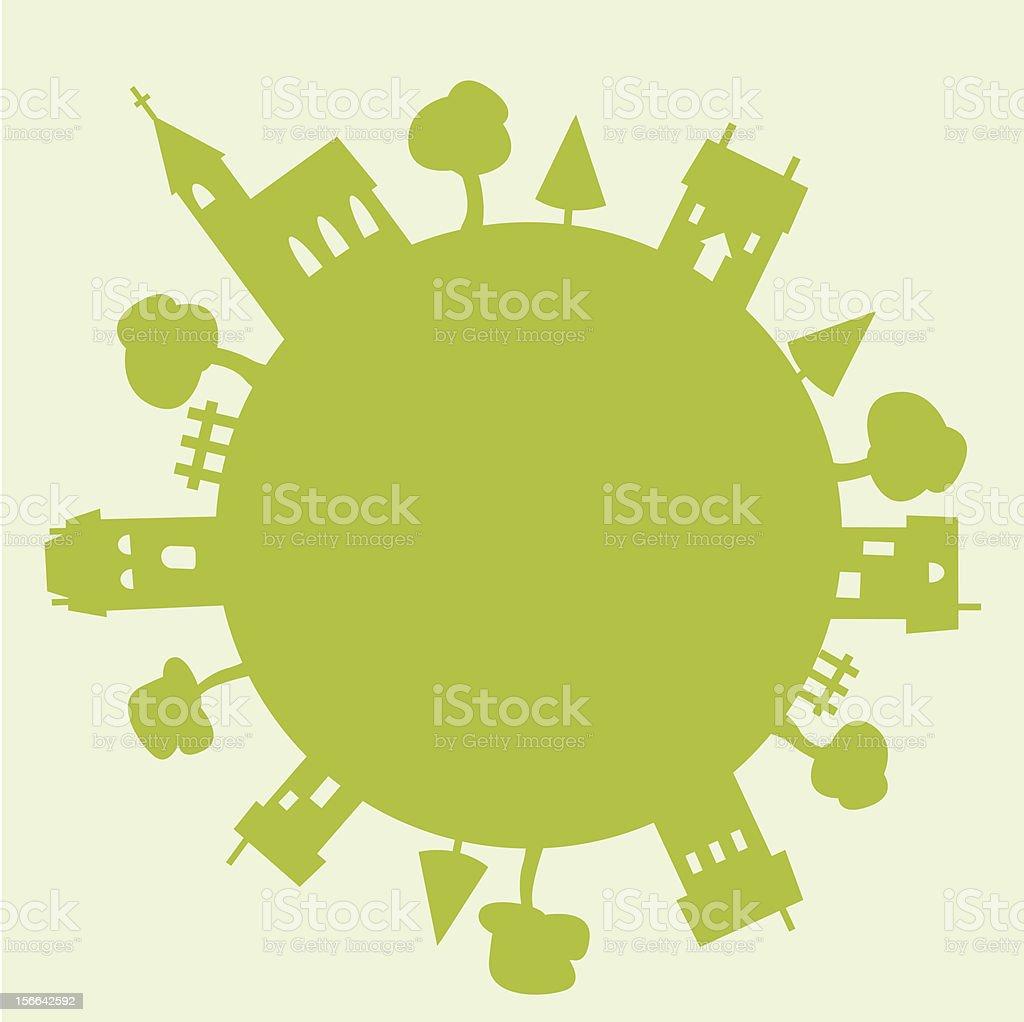 Globe like green figure representing the community & nature royalty-free stock vector art