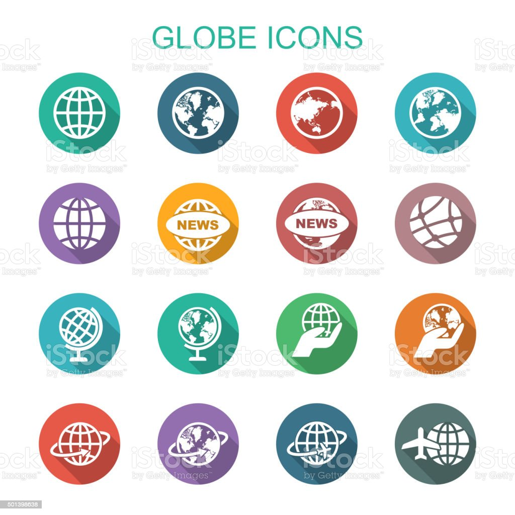 globe long shadow icons vector art illustration