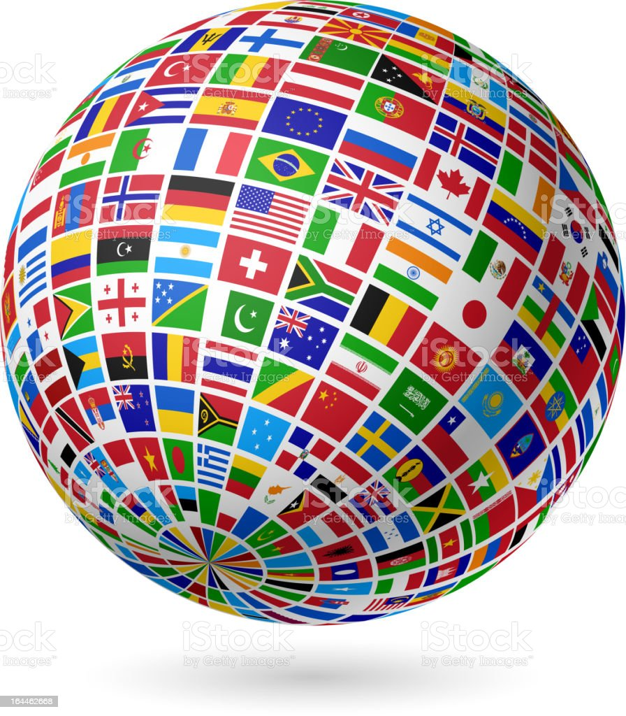 A globe made of many countries' flags on white background vector art illustration