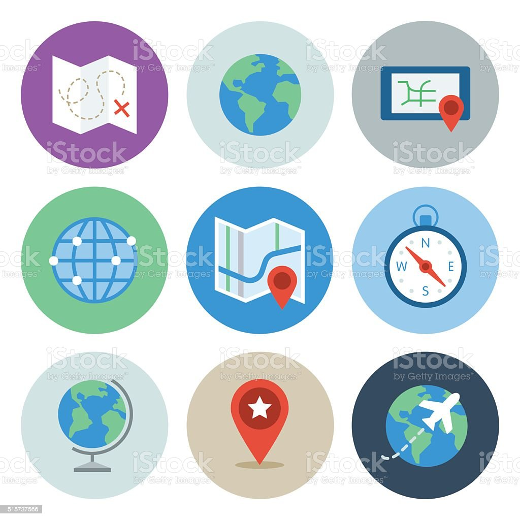 Globe & Map Icons — Circle Series vector art illustration