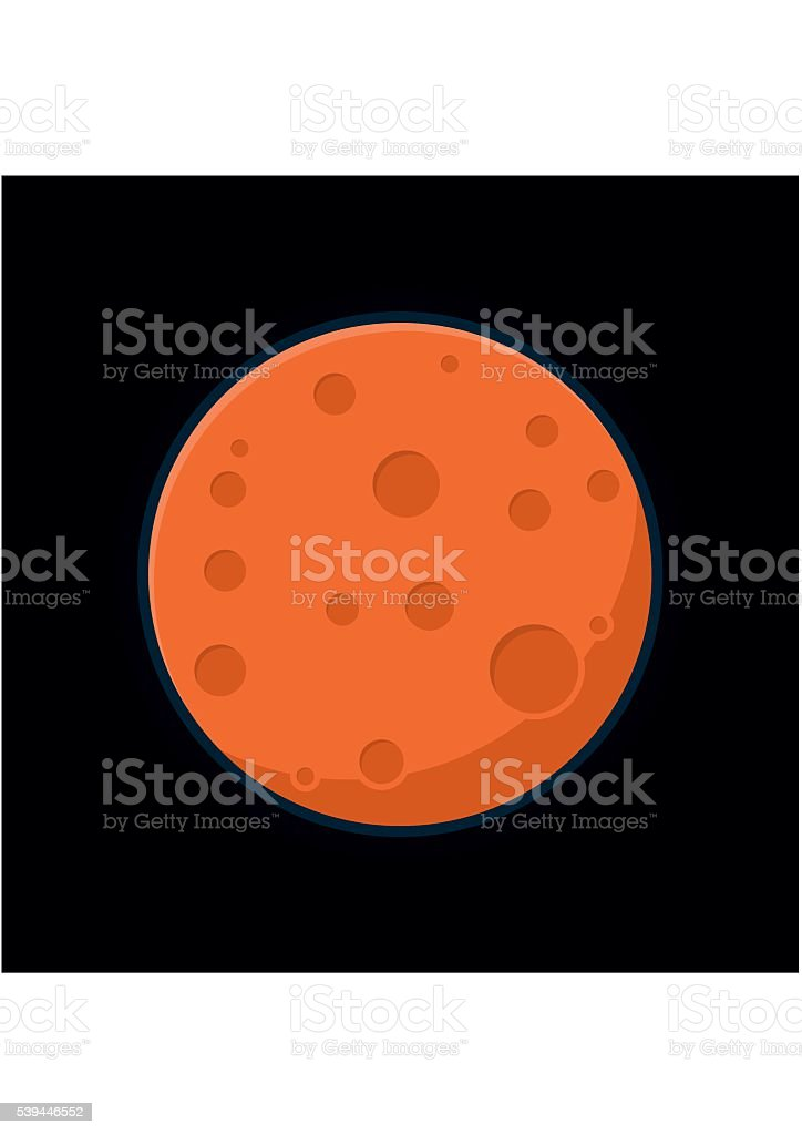 Globe Mars texture map view from space. Red planet vector art illustration