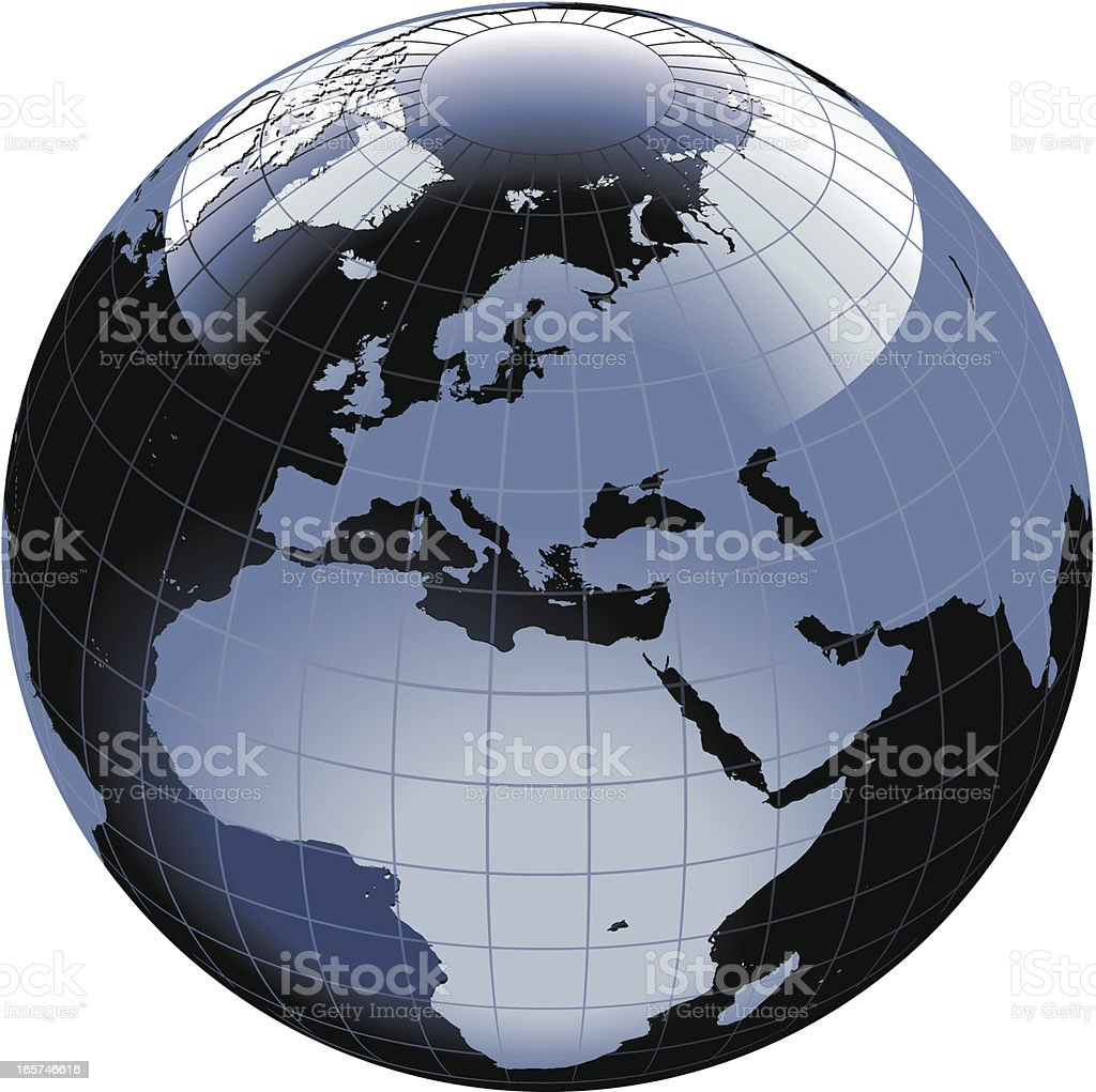 Globe of the World. Europe, Africa royalty-free stock vector art