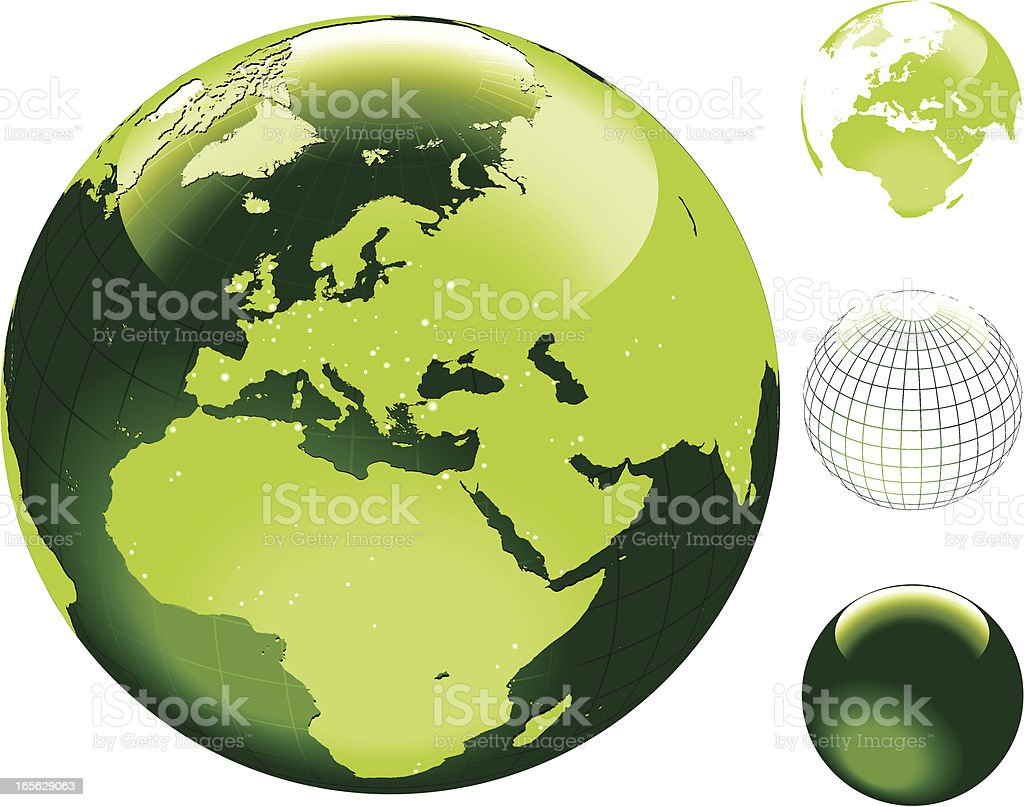 Globe of the World with hi detailed shore outline. Europe vector art illustration
