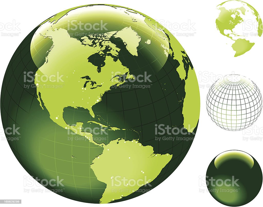 Globe of the World with hi detailed shore outline. vector art illustration