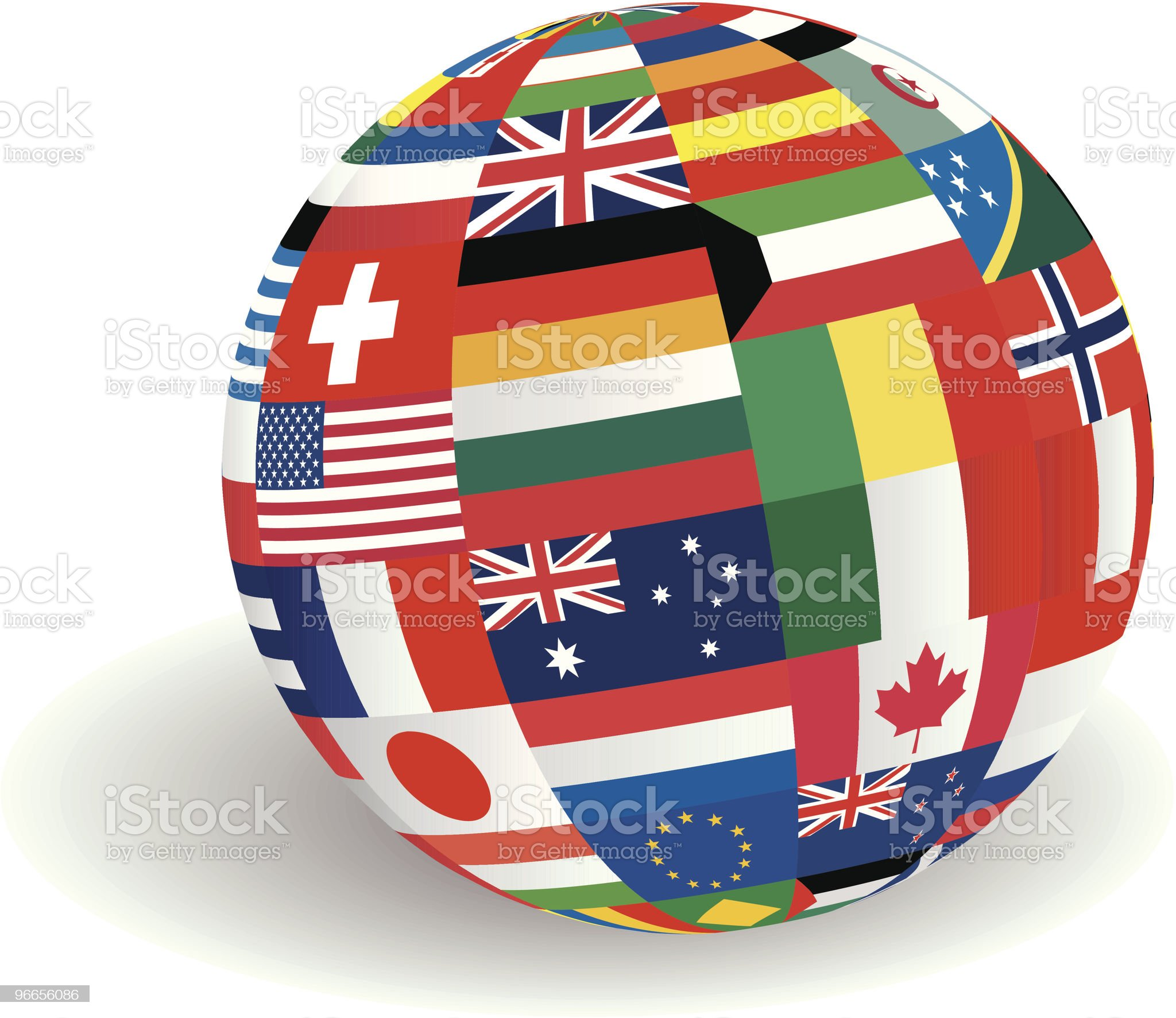 Globe of world flags royalty-free stock vector art