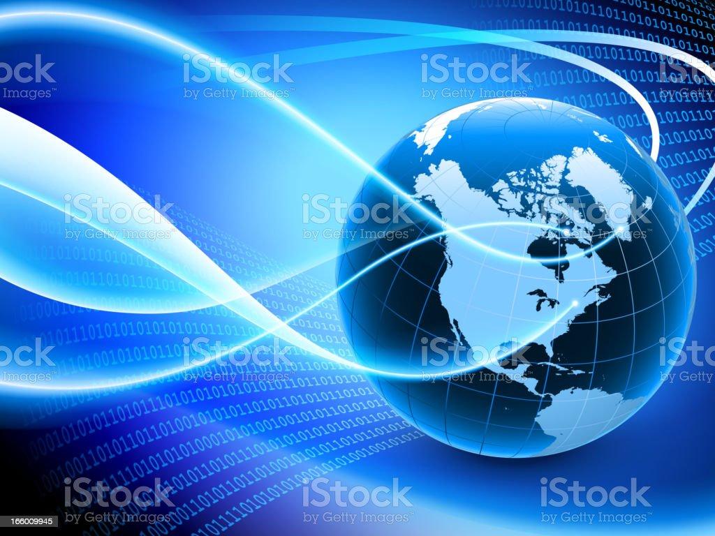Globe on Binary Code Global Communication Background royalty-free stock vector art