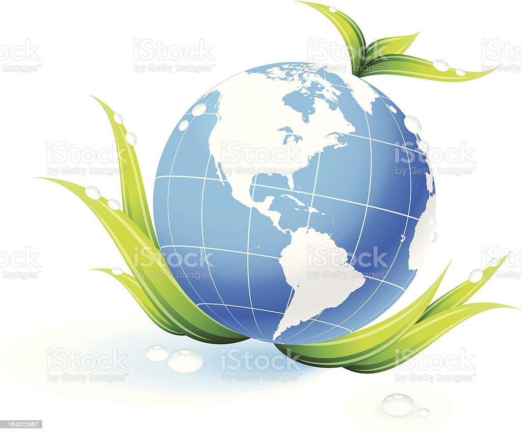 Globe on organic leaves background royalty-free stock vector art