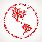 Globe Red Hearts Love Pattern