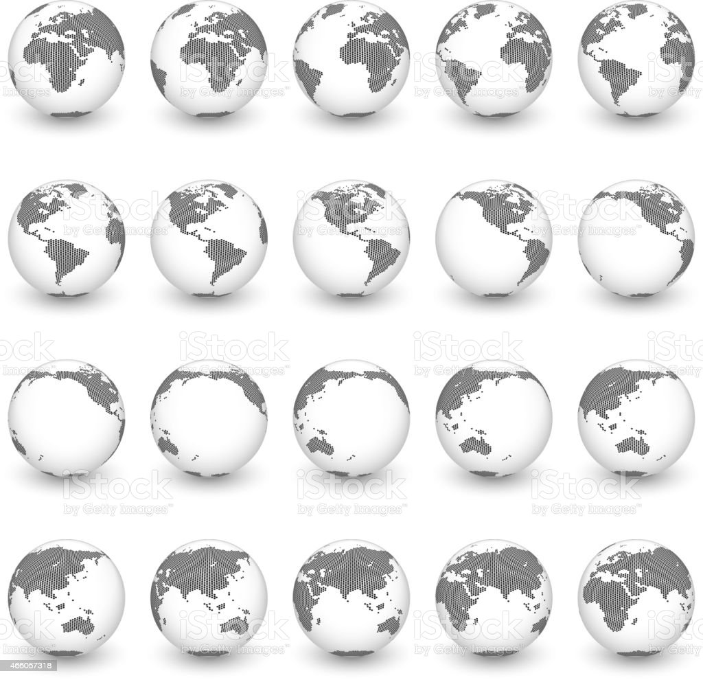Globe royalty free vector interface icon set World Map vector art illustration