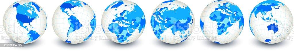 Globe royalty free vector interface icon set World Map vector art illustration