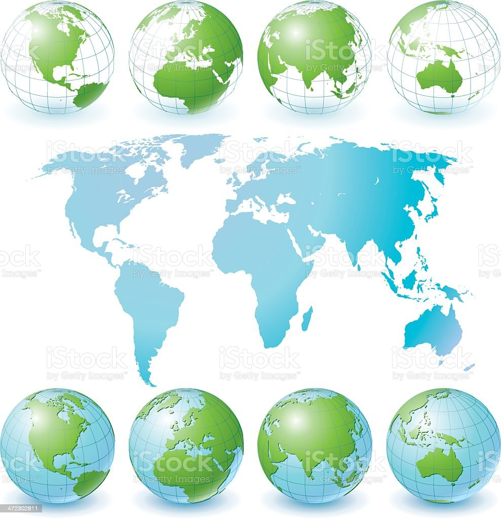 Globe Set and World Map royalty-free stock vector art