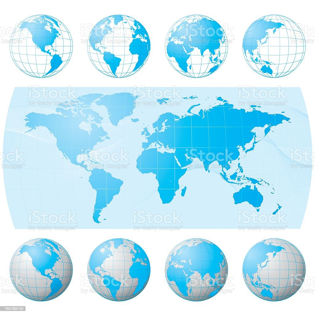 A globe set in different angles royalty-free stock vector art