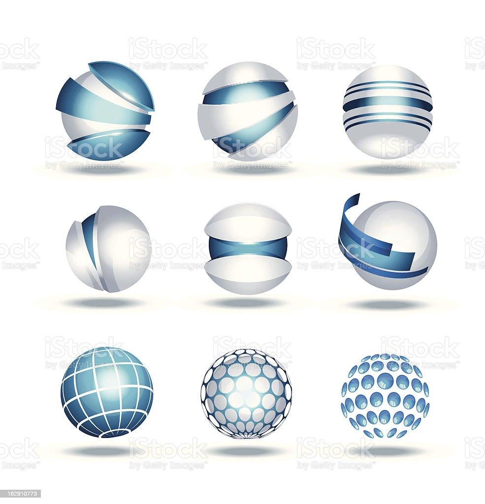 Globe sphere 3d icons set vector illustration vector art illustration