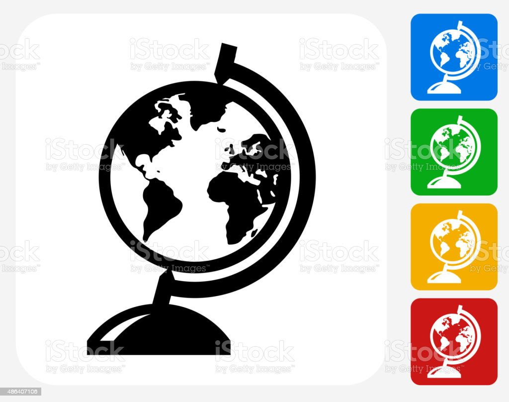 Globe Stand Icon Flat Graphic Design vector art illustration