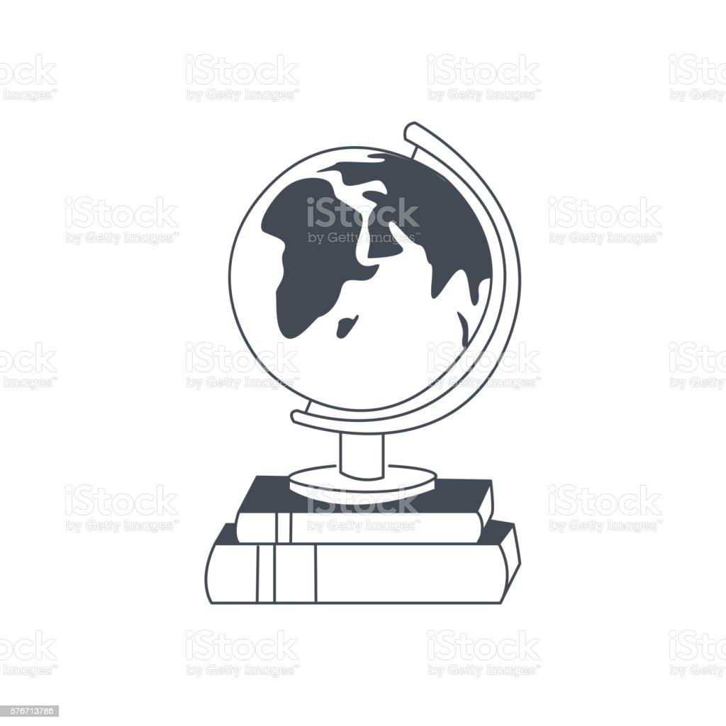 Globe Standing On The Pile Of Books vector art illustration
