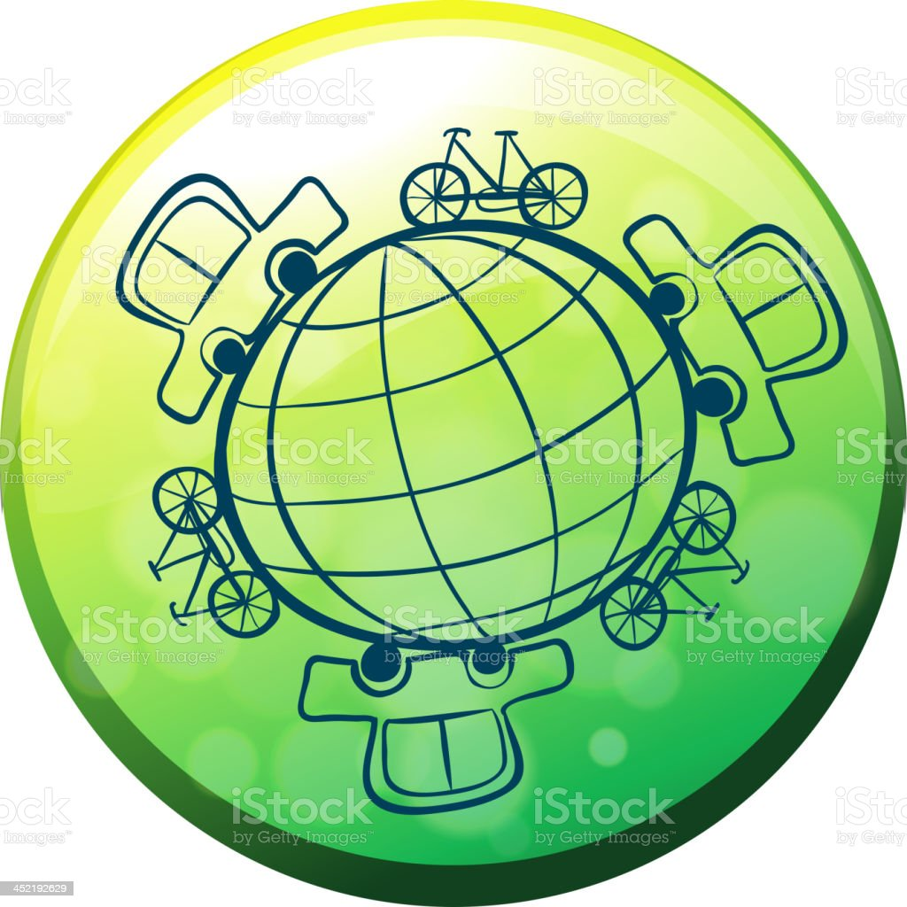 Globe surrounded by bicycles and cars royalty-free stock vector art