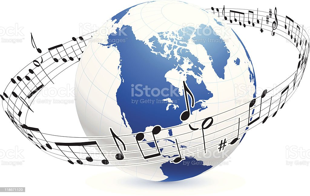 globe surrounded by musical notes royalty-free stock vector art