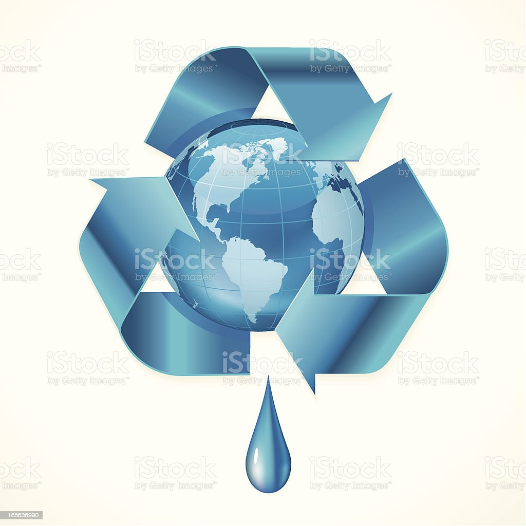Globe Water Recycle Icon royalty-free stock vector art