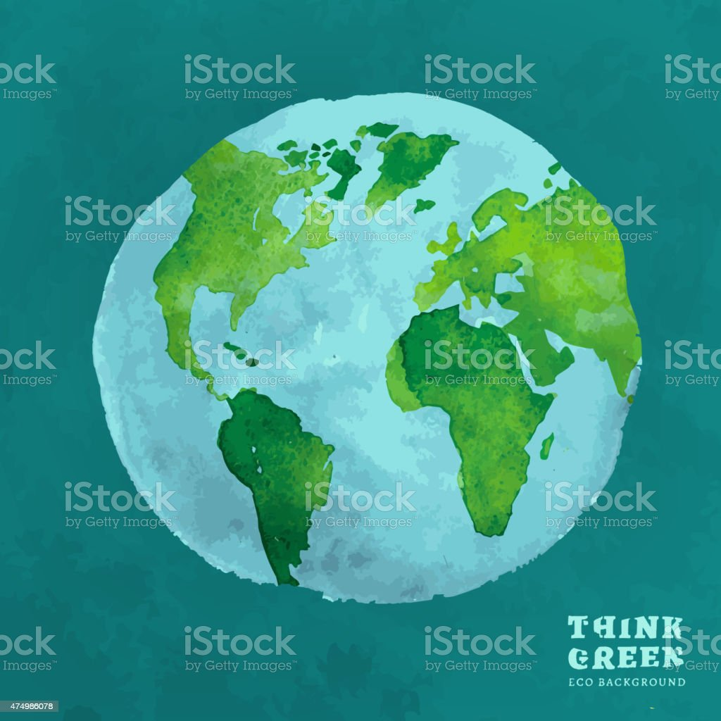 01 Globe watercolor eco concept vector art illustration