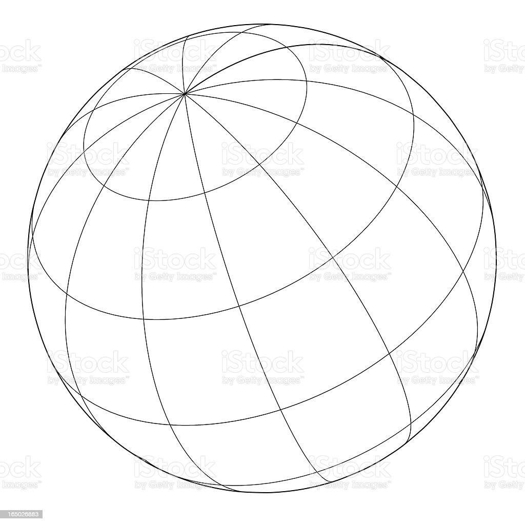 Globe -  Wireframe Vector vector art illustration
