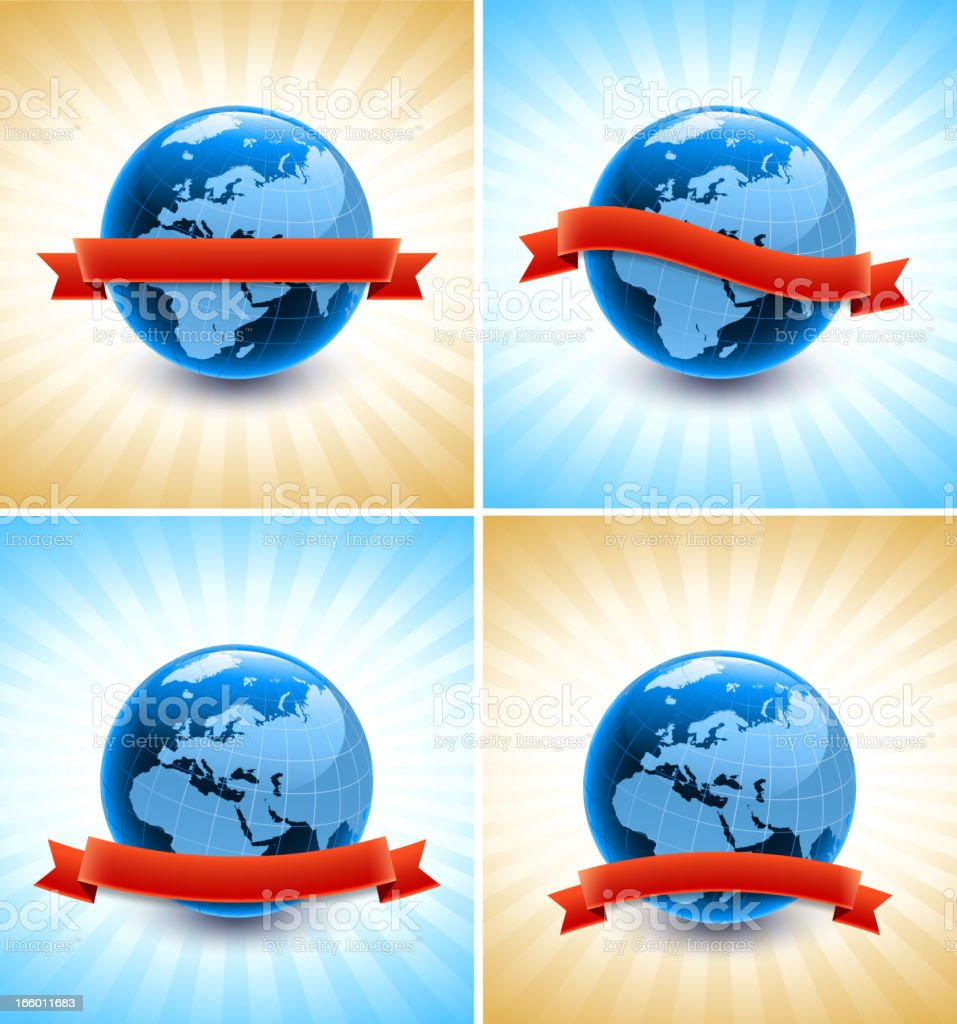 Globe with Blank Ribbon on royalty free vector Background royalty-free stock vector art