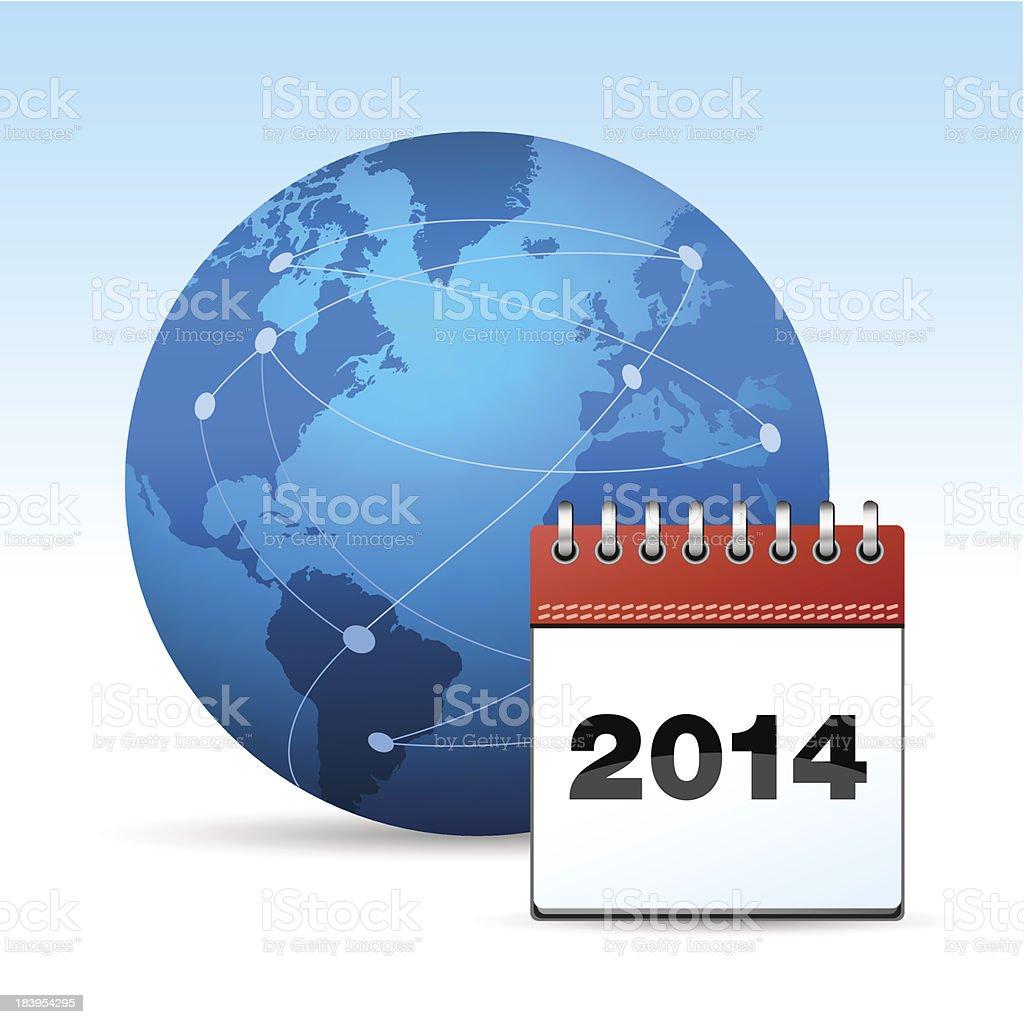 Globe with calendar 2014 royalty-free stock vector art