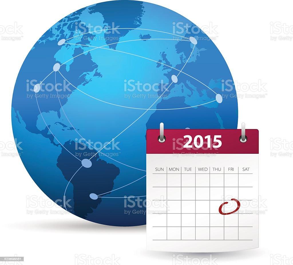 Globe with calendar 2015 vector art illustration