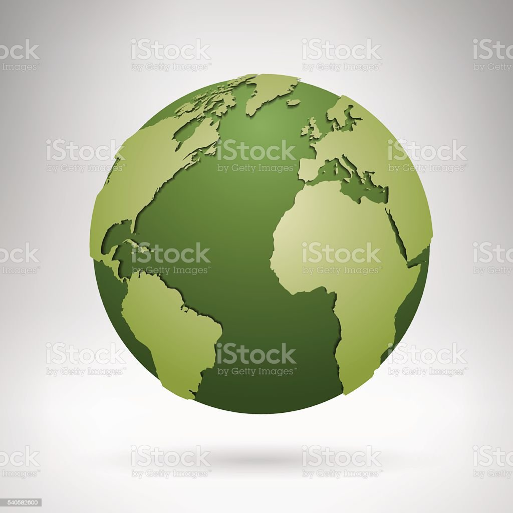Globe with green continents in grey room vector art illustration