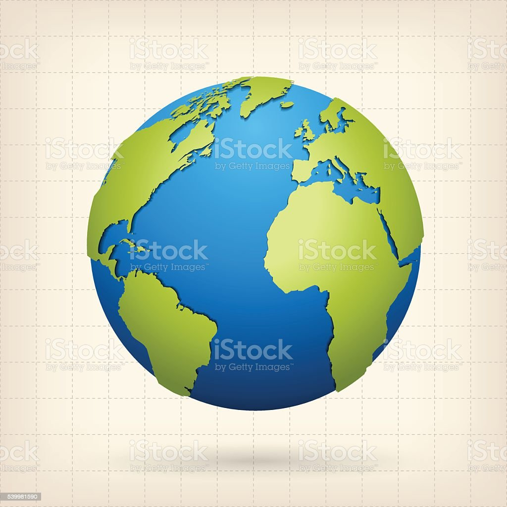 Globe with green world map on beige background vector art illustration