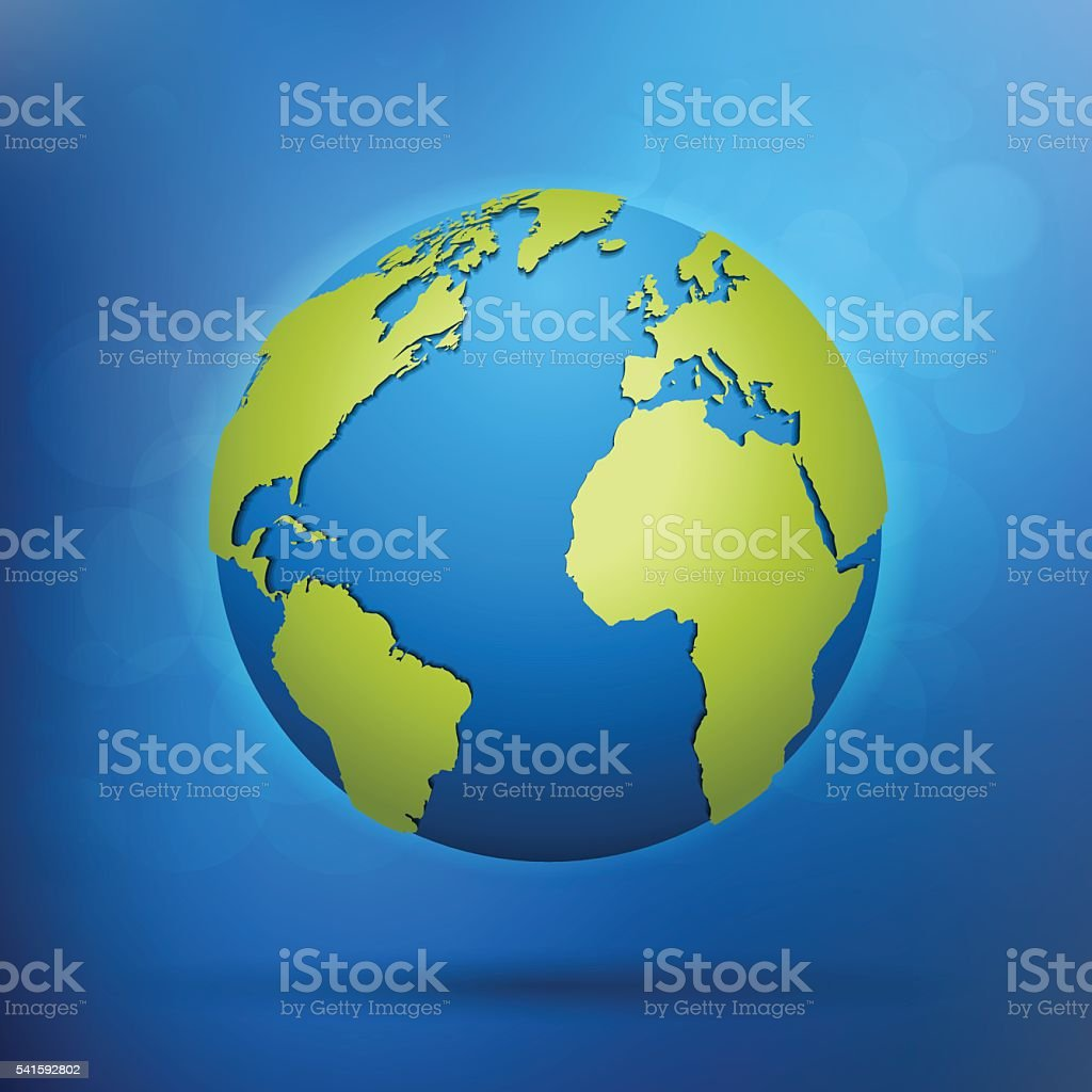 Globe with grey world map in blue colorful space vector art illustration