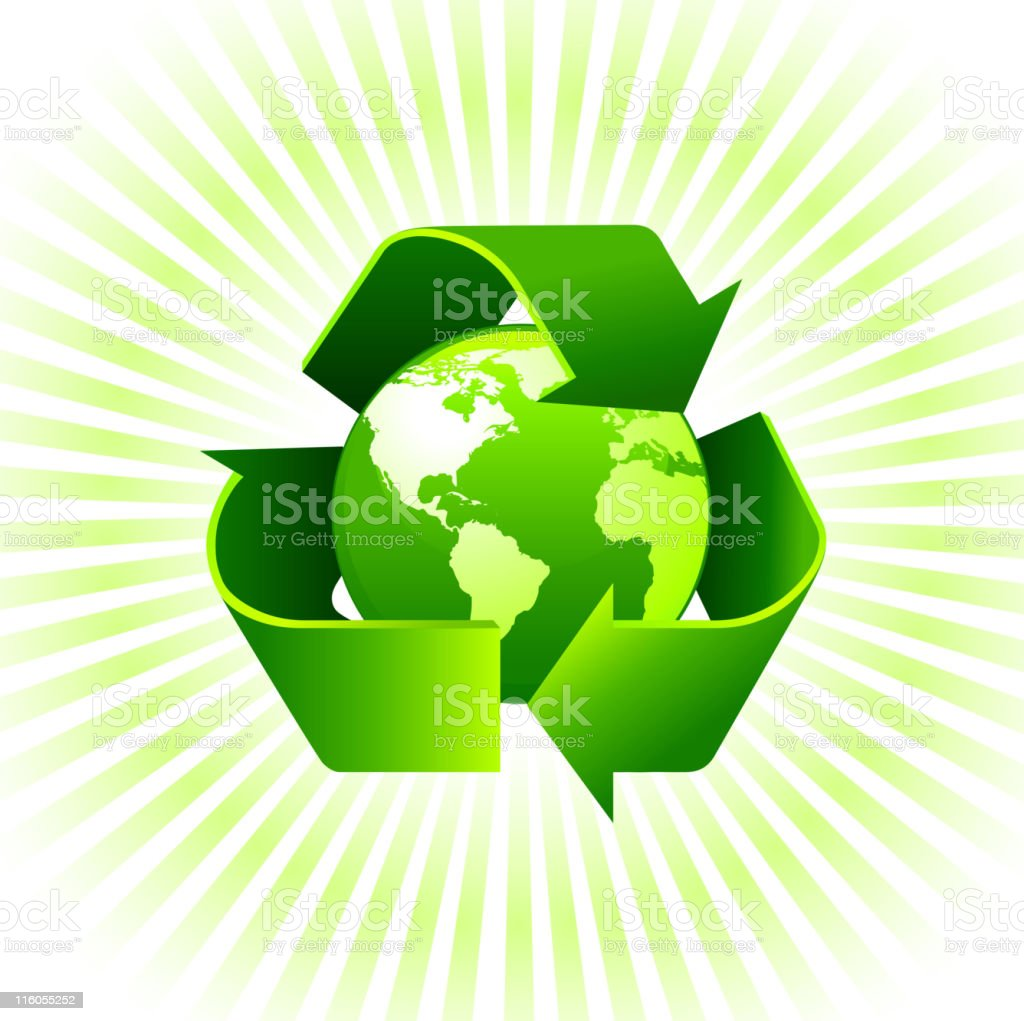globe with recycling sign on environmental Background vector art illustration