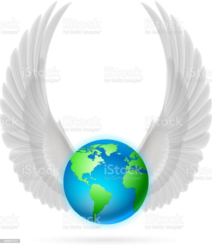 Globe with white wings on white vector art illustration