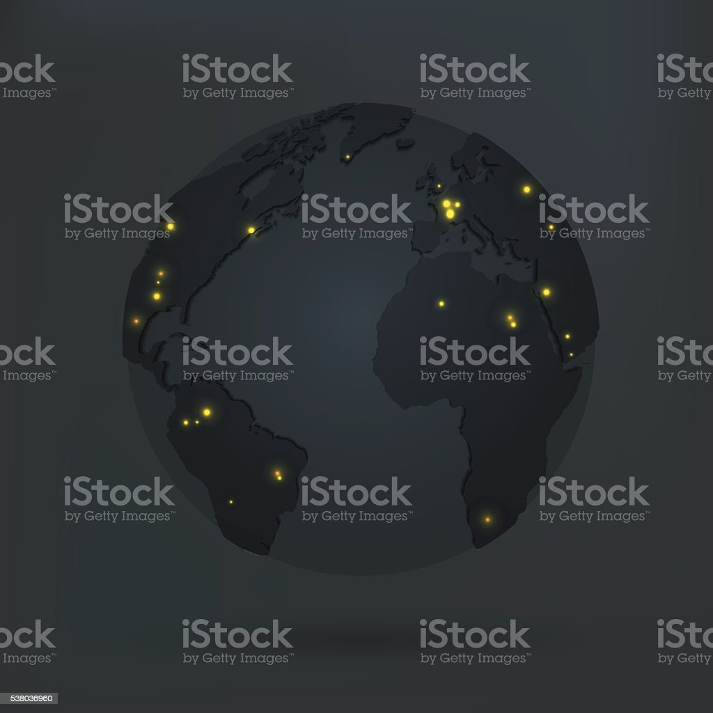 Globe with world map city lights map in dark room vector art illustration