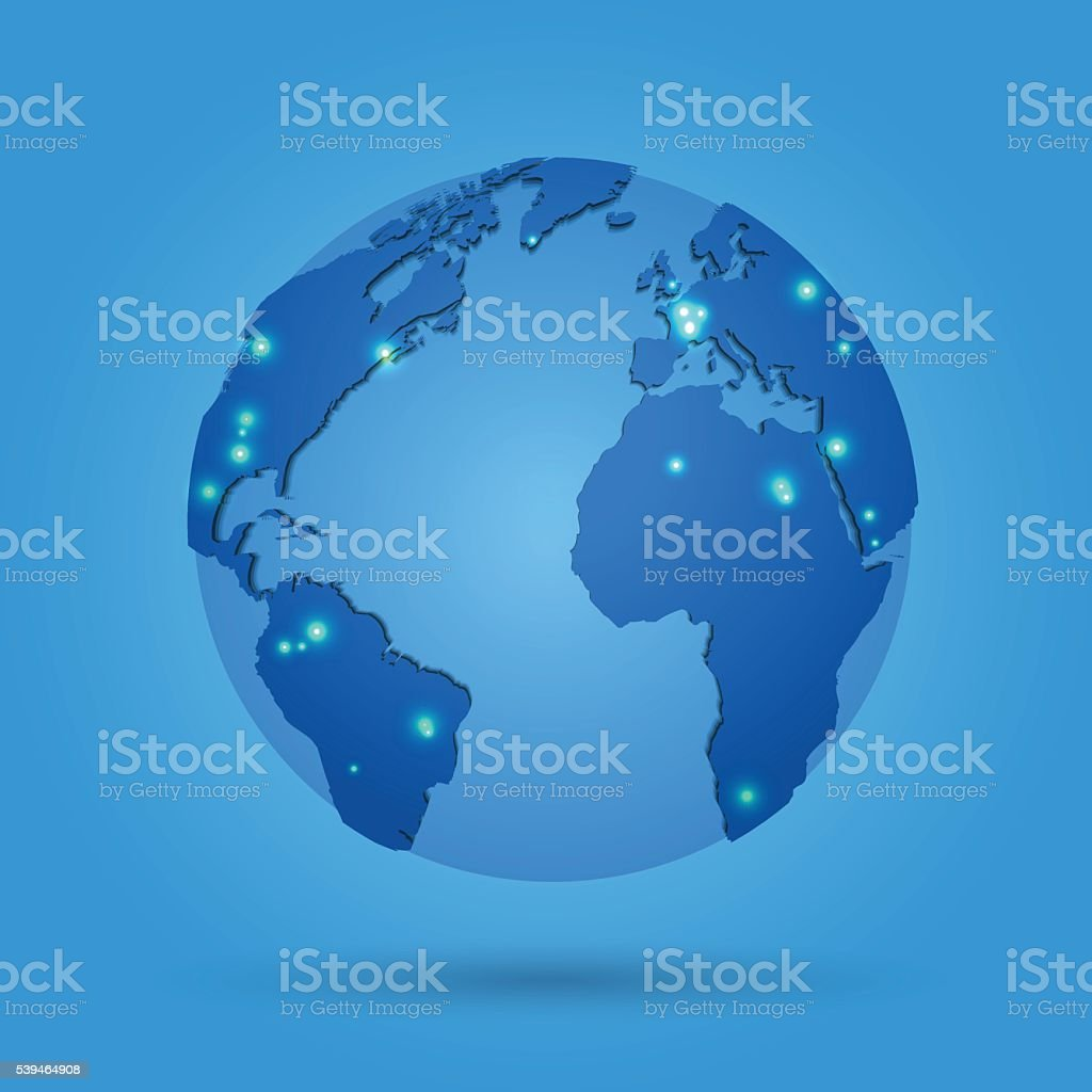 Globe with world map in blue colored space vector art illustration