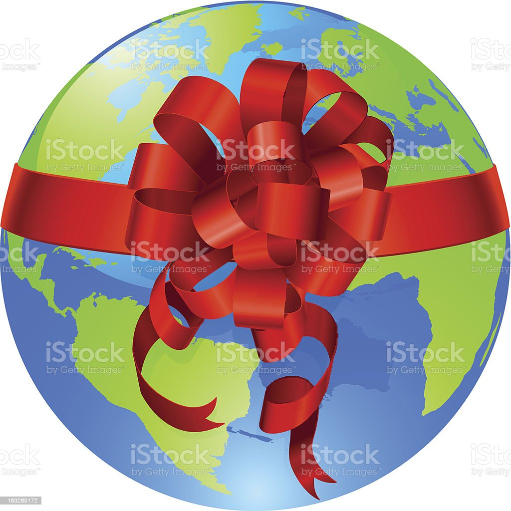 Globe world gift bow concept royalty-free stock vector art
