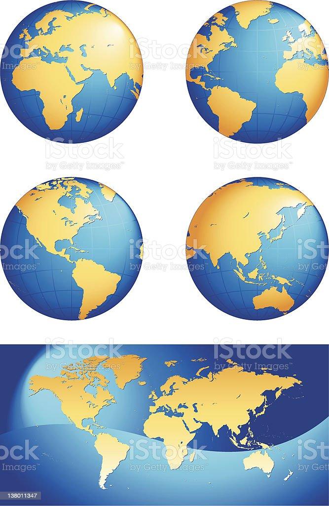 Globe & World Map royalty-free stock vector art