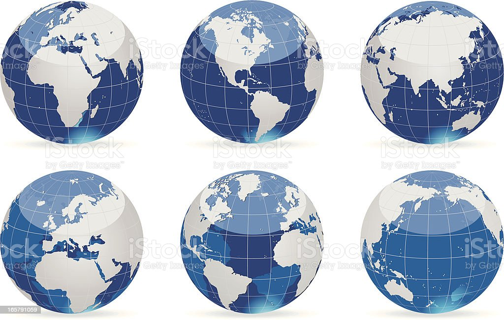 Globes blue-gray set royalty-free stock vector art